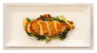Roasted Amish Chicken Breast with Savory French Toast 300 pixels w border