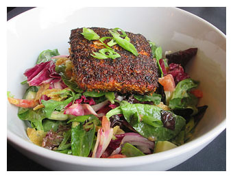 Blackened Salmon Salad 320 pixels. w border