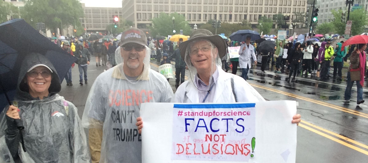 Oceanside Sierra Club Member Roger Davenport with friends at the March for Science in Washington D.C. in 2017.