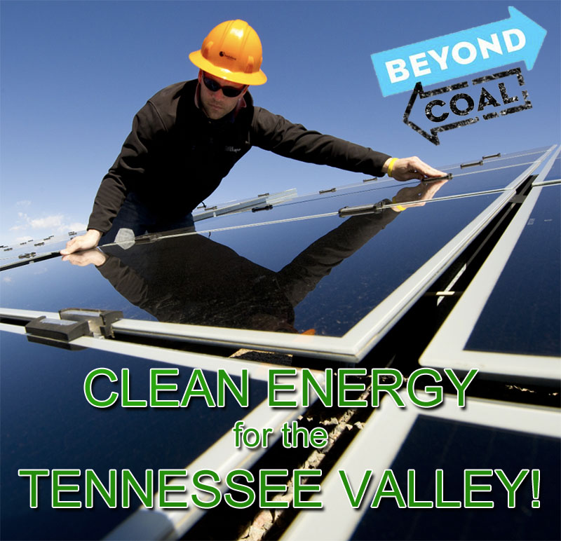 "A worker installs a solar panel. Text says, ""Clean energy for the Tennessee Valley!"""