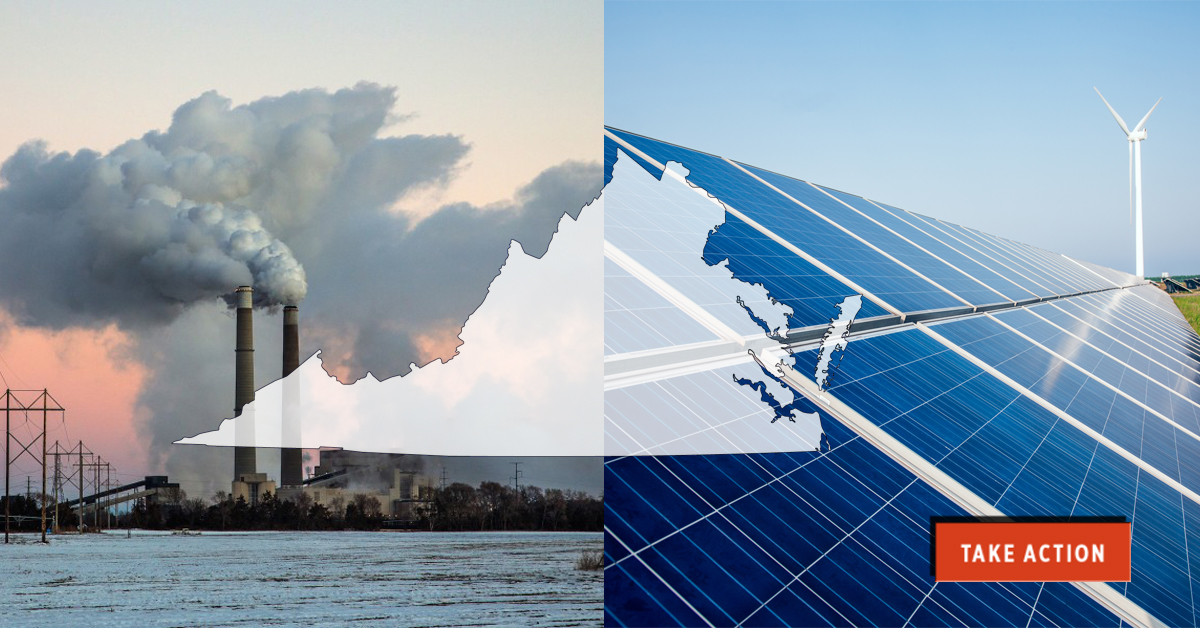 Split image of coal plant and solar panel and wind turbine, overlaid with outline of Virginia