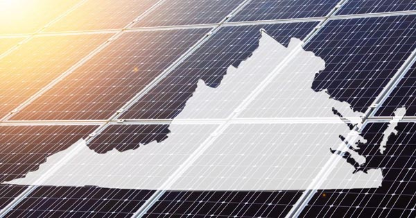 solar panels overlaid with state outline of Virginia
