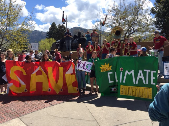 Missoula youth display banner at Peoples Climate March April 29 2017