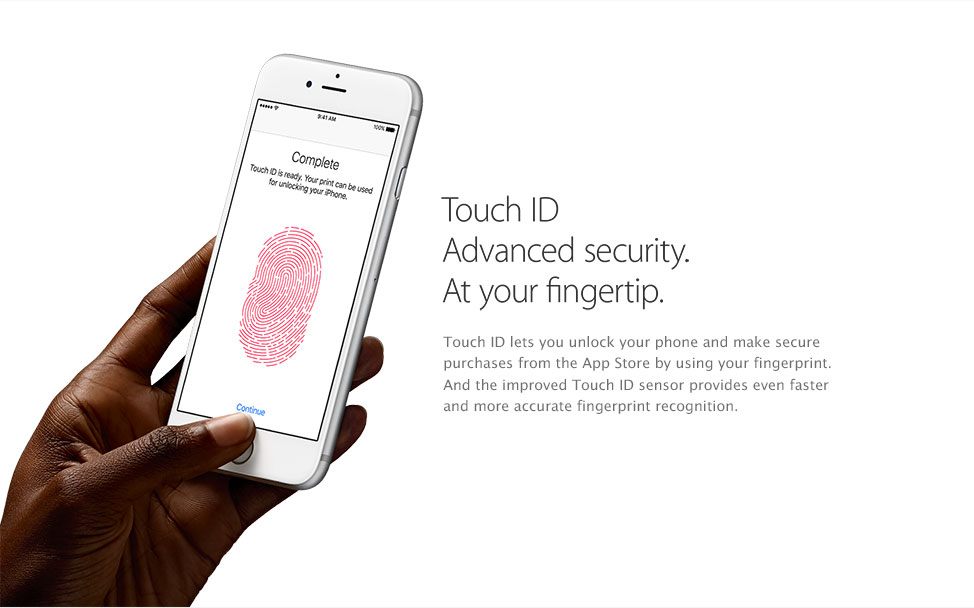 Touch Id. Advanced Security at your fingertip