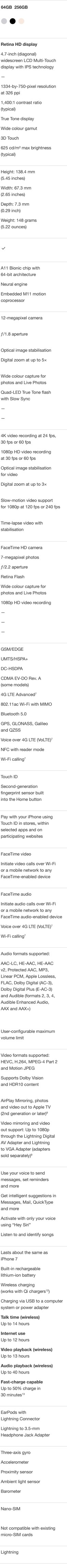 iPhone 8 Specifications