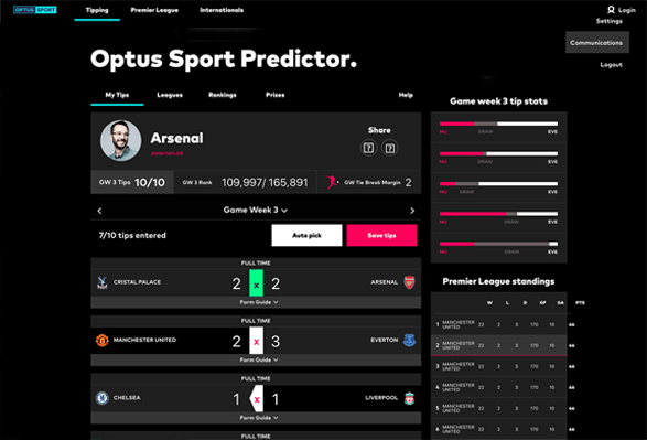 Optus Sports Predictor